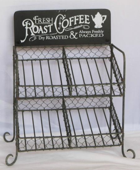 metal farmhouse rustic K Cup coffee storage holder rack