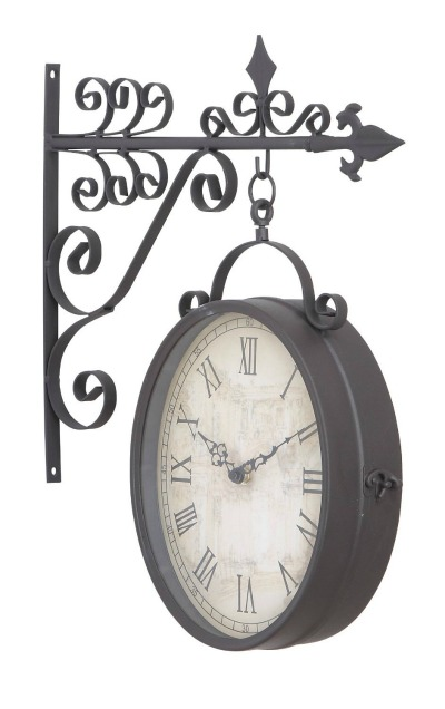 Outdoor double hanging wall clock