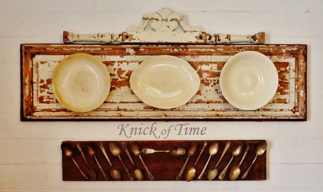 repurposed silverware and ironstone plates display - KnickofTime.net