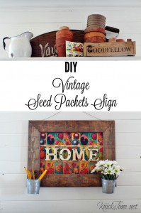 Welcome Spring with a DIY vintage seed packets HOME sign! Free printable and tutorial at KnickofTime.net