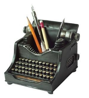 vintage typewriter pencil cup