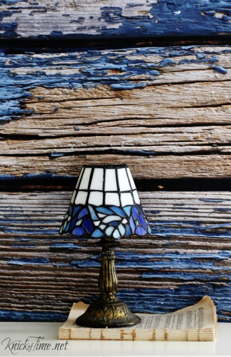 weathered blue background lamp
