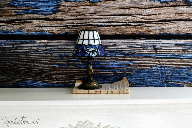 weathered blue background lamp - Knick of Time