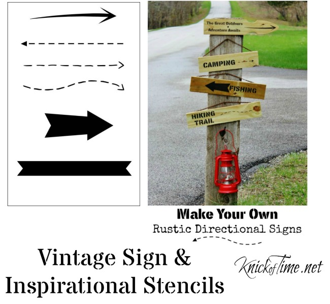 Create your own funky directional signs with Knick of Time Vintage Sign Stencil Arrows Stencil | KnickofTime.net