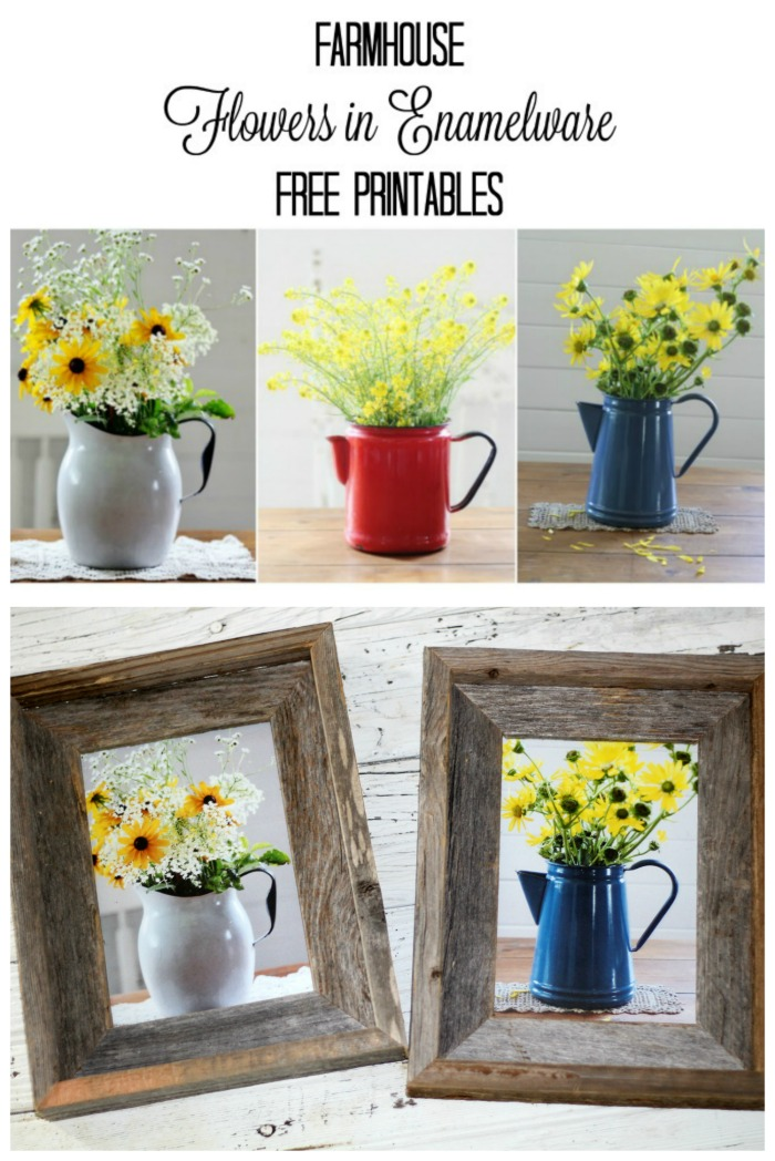 Print & Frame Free Farmhouse Flowers in Vintage Enamelware Photos - KnickofTime.net