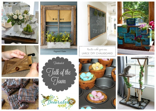 ToT 15 features: spring cottage kitchen, repurposed flowering window box, large scale chalkboard, repurposed apothecary cabinet, mini barn door, cat tree, brownies at more - featured at KnickofTime.net