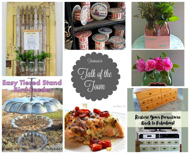 Talk of the Town features |picket fence herb planter, mother's day blooming bottle gifts, tiered stand bird feeder, upcycled furniture, baked pesto chicken - KnickofTime.net