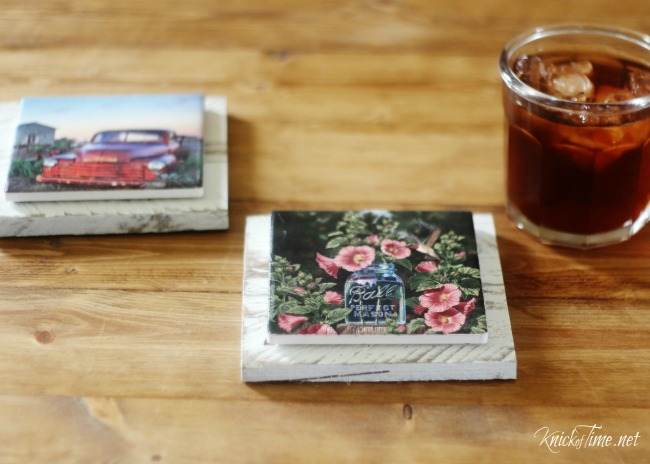 A rt photo tile coasters on pallet wood - KnickofTime.net