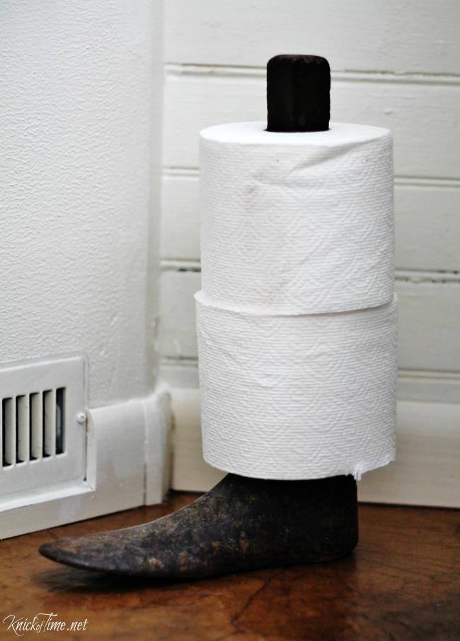 repurposed cast iron cobbler's shoe form toilet paper holde - KnickofTime.net