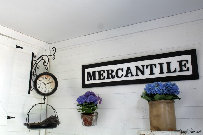 DIY Repurposed Door Panel Vintage Style Mercantile Sign - KnickofTime.net