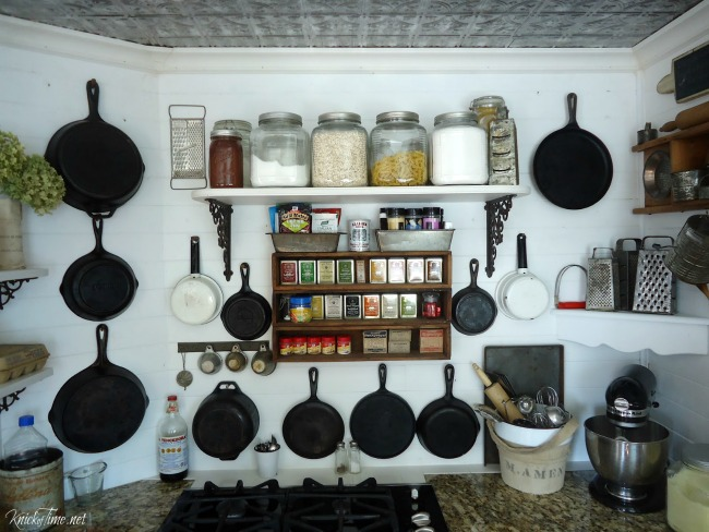 Cast iron skillets are made to last, and look beautiful displayed in a farmhouse kitchen - KnickofTime.net