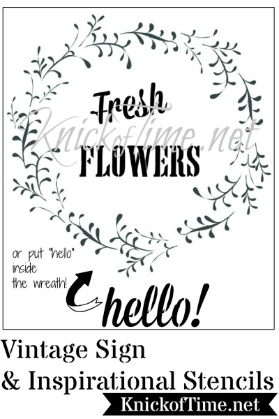 Fresh flowers wreath stencil by Knick of Time Vintage Sign Stencils - KnickofTime.net