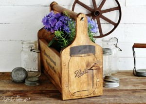 handmade mason jar wood tote - KnickofTime.net