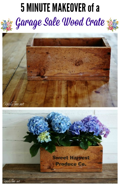upcycled garage sale wood crate