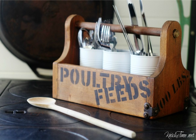 Turn an unfinished wooden tote into a farmhouse style flatware utensils carrier with Knick of Time's Vintage Sign Stencils - KnickofTime.net