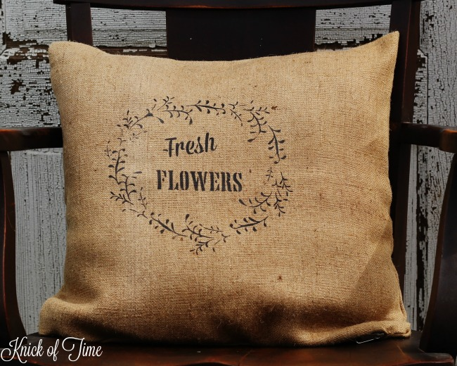 jute burlap pillow with floral wreath fresh flowers stencil - KnickofTime.net