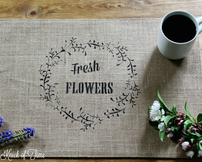 Fresh flowers wreath floral stencil by Knick of Time's Vintage Sign Stencils - KnickofTime.net