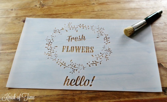Fresh flowers in wreath stencil by Knick of Time's Vintage Sign Stencils - KnickofTime.net