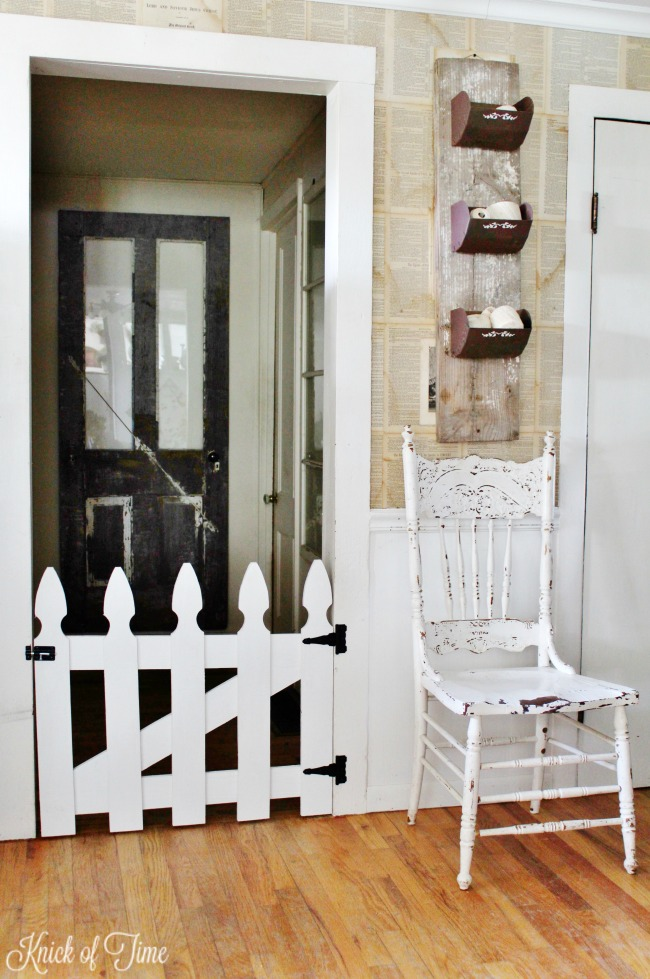 DIY white picket fence pet gate - Knick of Time