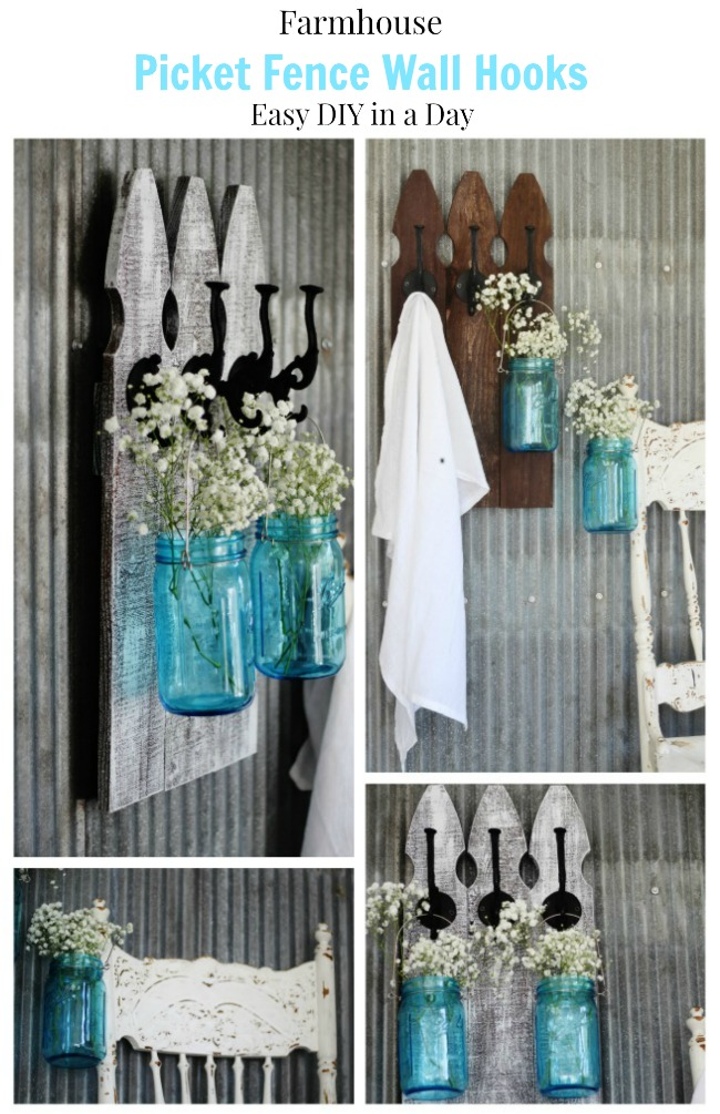 How to make farmhouse picket fence wall hooks - Knick of Time.net