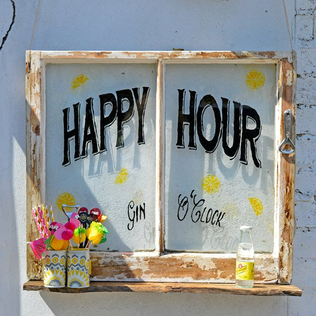Happy Hour Upcycled Window featured at Talk of the Town