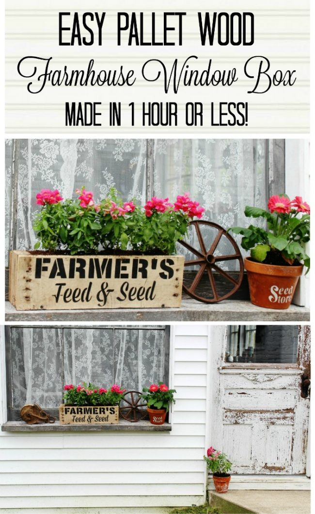 farmhouse flowers window box - Knick of Time