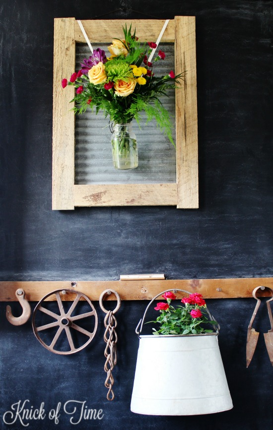 flower bouquets and rustic decor in farmhouse entryway - KnickofTime.net