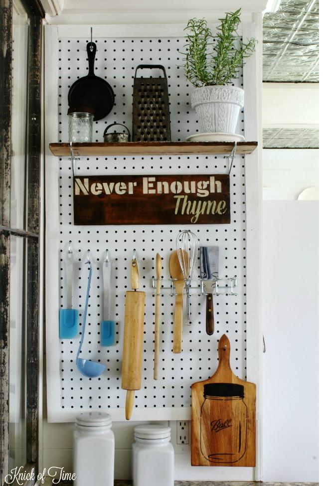 pegboard kitchen organization station - KnickofTime.net