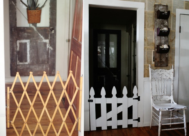 picket fence pet gate before and after- Knick of Time