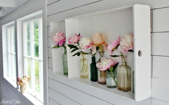 shiplap walls with repurosed display shelf - KnickofTime.net
