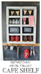 Repurpose a metal pallet into a soda bar or cafe display shelf - KnickofTime.net