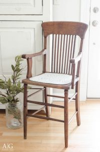 Updated antique high chair with tung oil and paint featured at Talk of the Town - KnickofTime.net