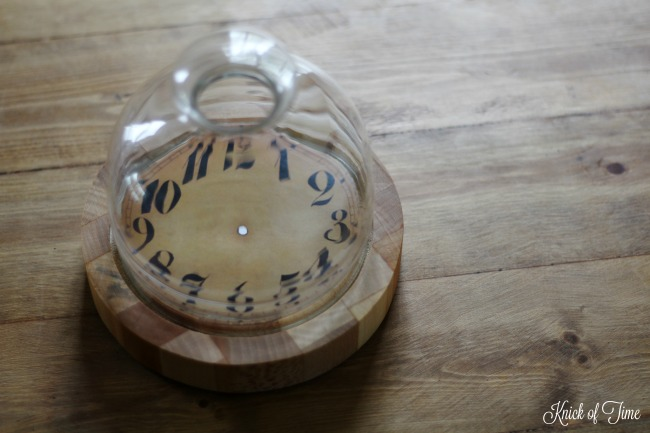 upcycled cheese dome with clock face - KnickofTime.net