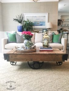 antique factory cart coffee table featured at KnickofTime.net