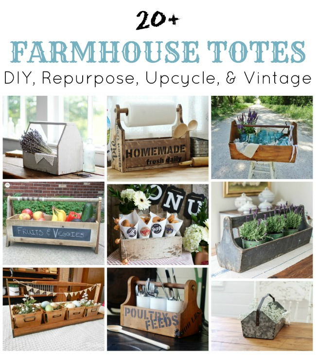 20+ Farmhouse Totes to DIY, Repurpose, Upcycle or buy Vintage - KnickofTime.net
