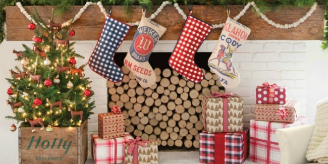 feed sack and gingham stockings via Country Living