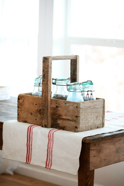 French farmhouse wooden tote caddy featured at Farmhouse Friday - KnickofTime.net