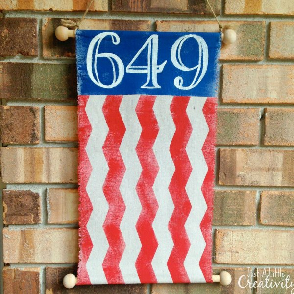 DIY Patriotic Flag Street Number Banner featured at KnickofTime.net