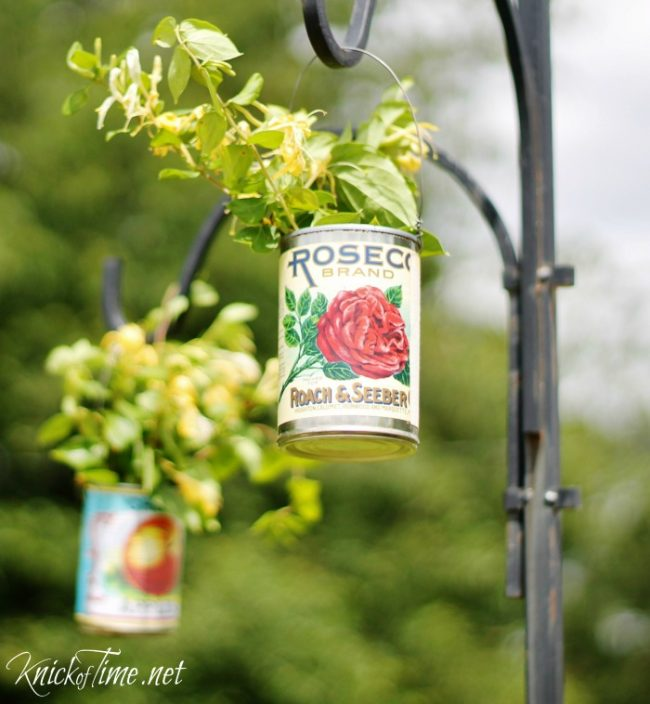 recycled tin can planter with free vintage pritables - KnickofTime.net