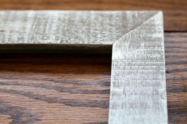 rustic wood photo frame close up