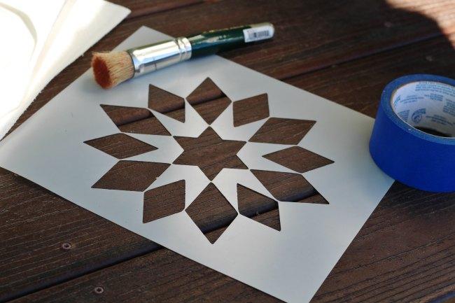 star quilt block stencil dresser