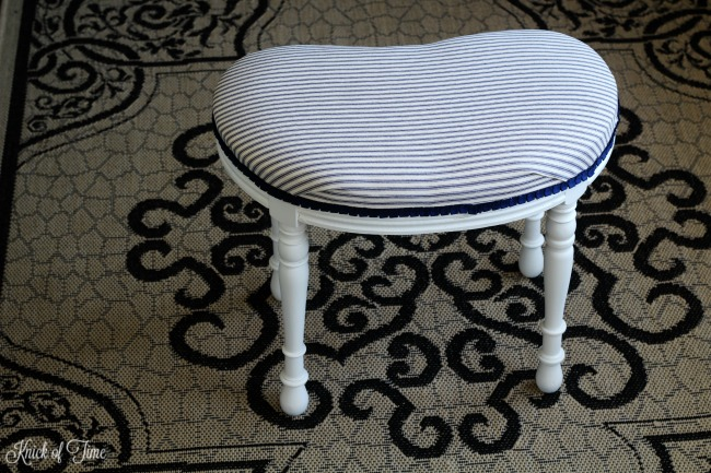 How to replace seat cover on vintage bench with ticking fabric - KnickofTime.net