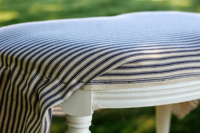 How to Upholster a Bench Cushion with Ticking Fabric - KnickofTime.net
