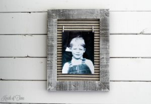 Give a thrift shop photo frame a farmhouse makeover with ticking fabric + a few supplies - KnickofTime.net