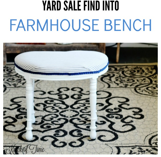 vintage bench makeover farmhouse bench - KnickofTime.net