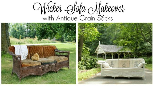 wicker sofa makeover grain sacks - Knick of Time