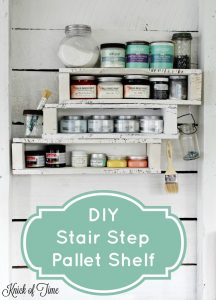 DIY pallet project stair step shelf - KnickofTime.net