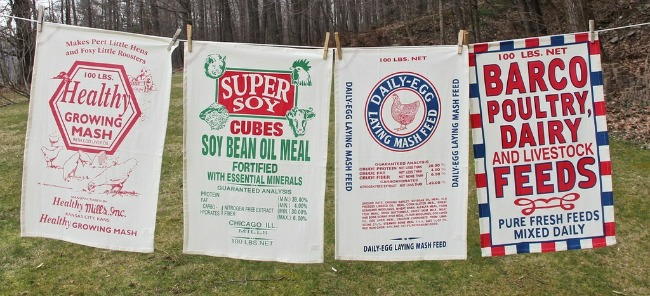 Feed sack kitchen towels for farmhouse decor - www.knickoftime.net