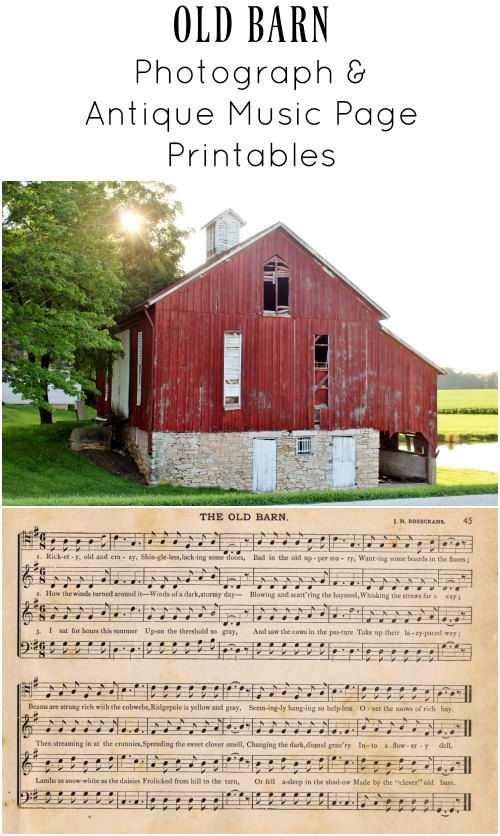 Old barns music page and red barn image - Knickoftime.net