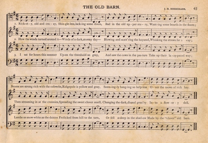 he Old Barn Aged Music Page Printable - www.knickoftime.net
